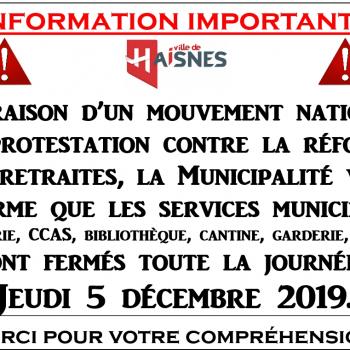 Fermeture des services municipaux - Jeudi 05/12/2019